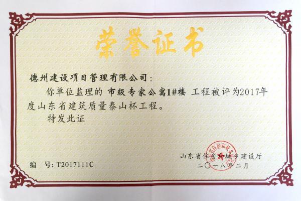 2017年度山东省建筑质量泰山杯工程