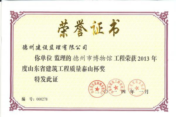 2013年度山东省建筑工程质量泰山杯奖