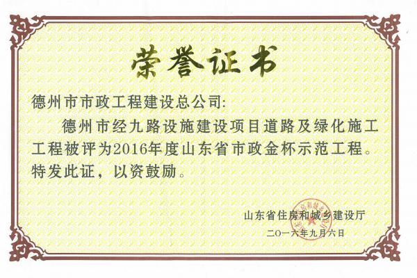 2016年度山东省市政金杯示范工程